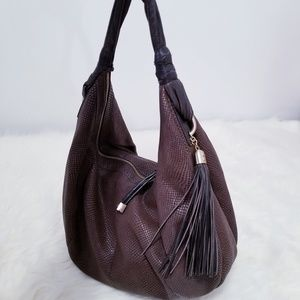 ADRIENNE VITTADINI Brown Fringe Hobo Bag